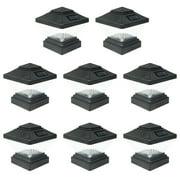 8 Pack Black / White Outdoor Garden 4 x 4 Solar LED Post Deck Cap Square Fence Light Landscape Lamp Lawn PVC Vinyl Wood