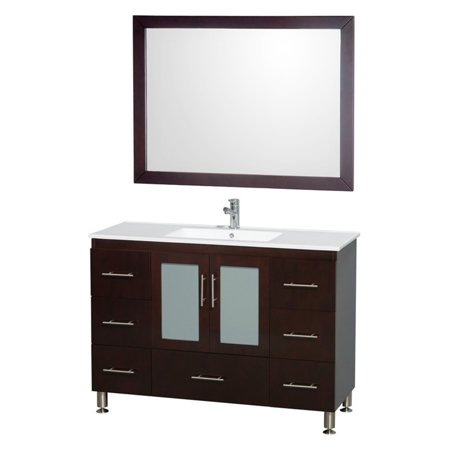 Wyndham Collection Katy 48 inch Single Bathroom Vanity in Espresso, White Porcelain Countertop, White Porcelain Sink, and 46 inch Mirror ()