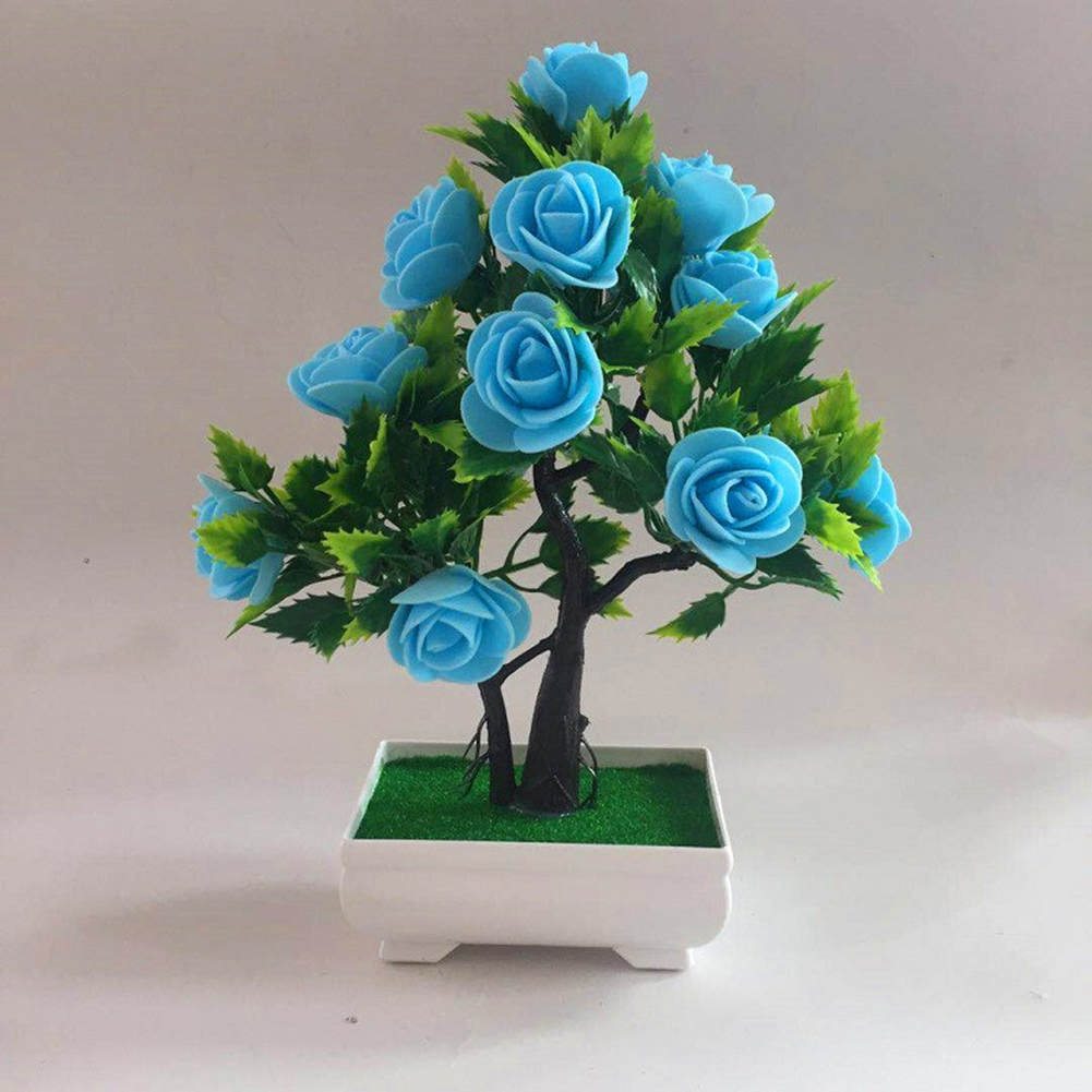 Artificial Rose Flower Plant In Pot Fake Bonsai Tabletop Potted Plant Fake Decor Walmart Com Walmart Com