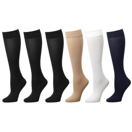 - 6-Pack Assoted Color Women Trouser Socks with Comfort Band Stretchy Spandex Opaque Knee High