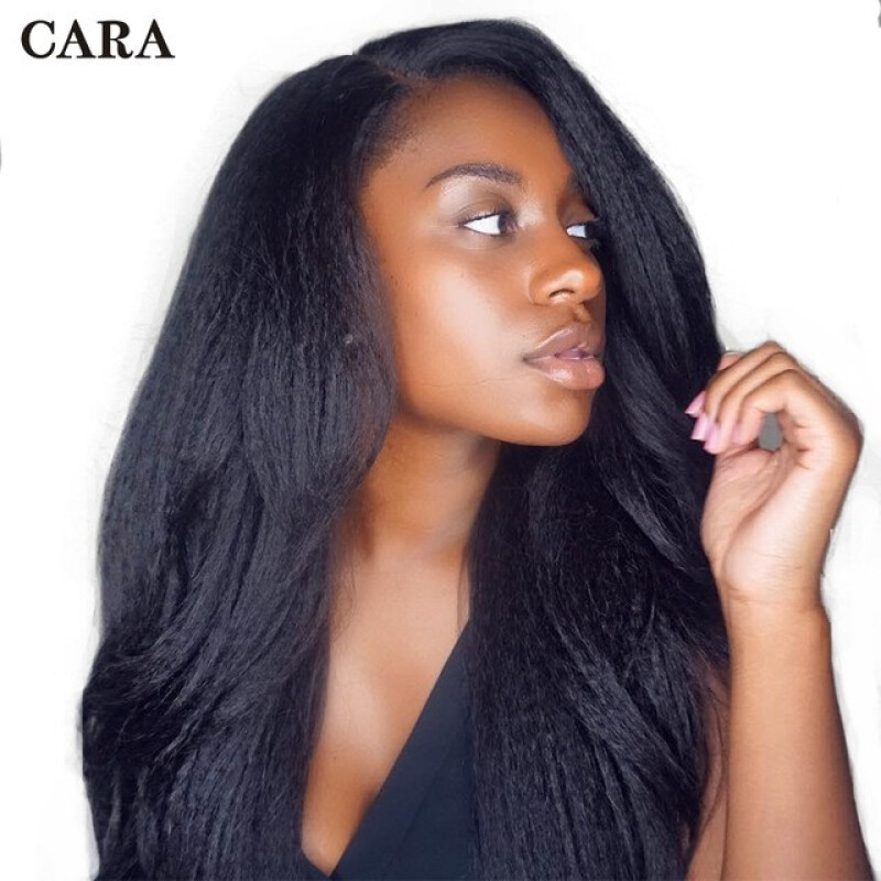 """CARA Lace Front Human Hair Wigs Kinky Straight 130% Density, 10"""""""