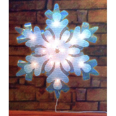 21 lighted holographic tinsel snowflake christmas window for 16 lighted snowflake christmas window silhouette decoration
