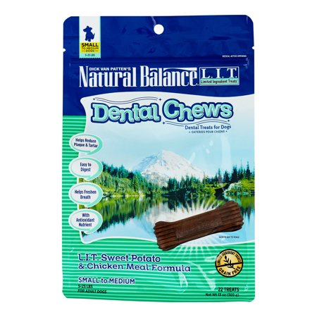 Natural Dental Chews - Natural Balance LIT Grain-Free Dental Chews Sweet Potato & Chicken Meal Small Dog Treat, 22 Ct