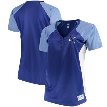 Kansas City Royals Majestic Women s Plus Size League Diva Henley  Performance T-Shirt - Royal 2bc65d5b24