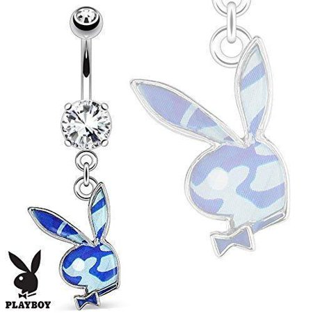 (Belly Button Ring Playboy Bunny with Blue Camouflage Epoxy Dangle 316L Surgical Steel Navel Ring)