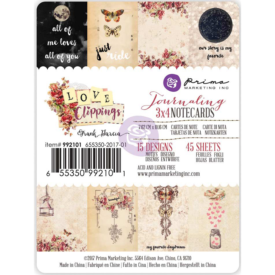 "Love Clippings Journaling Notecards 3"" x 4"" 45/Pkg - 15 Double - Sided Designs/3 Each"