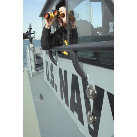 Us Navy Boatswains Mate Looks Through Binoculars As He Patrols The Coastal Waters Of The Persian Gulf In Support Of The Global War On Terrorism And Maritime Security Operations Poster Print