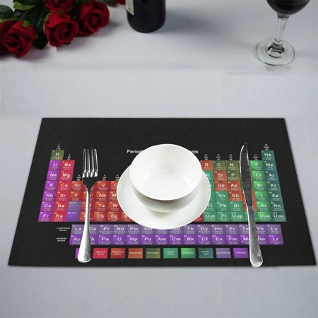 MYPOP Periodic Table of the Elements Black Background Table Placemat Food Mat 12x18 Inches Non Slip Table (Non Metals On The Periodic Table Of Elements)