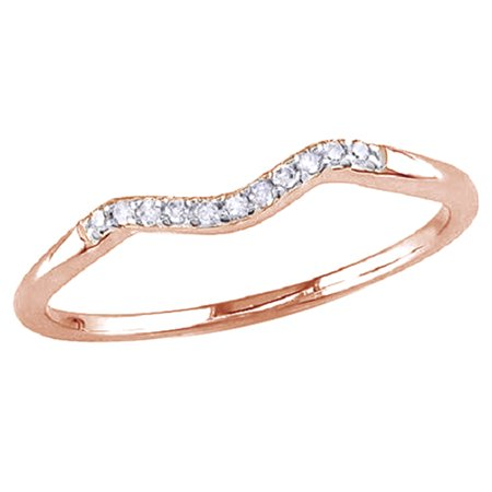 White Natural Diamond Accent Curved Wedding Band Ring In 14k Rose Gold Over Sterling Silver (0.06 Cttw)