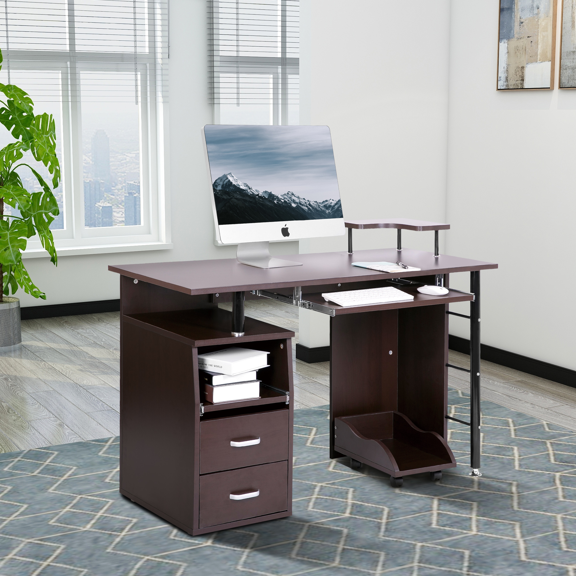 ModernLuxe Computer Desk With Keyboard Tray Slide Out Cabinet Two Drawers  Mobile CPU Storage And
