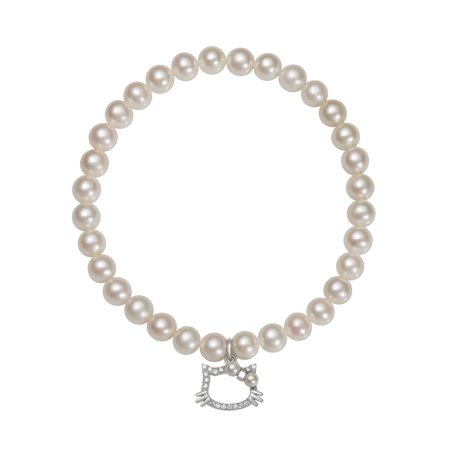 Cultured Freshwater Pearl and Cz Kitty Charm Stretch Bracelet, 7.5