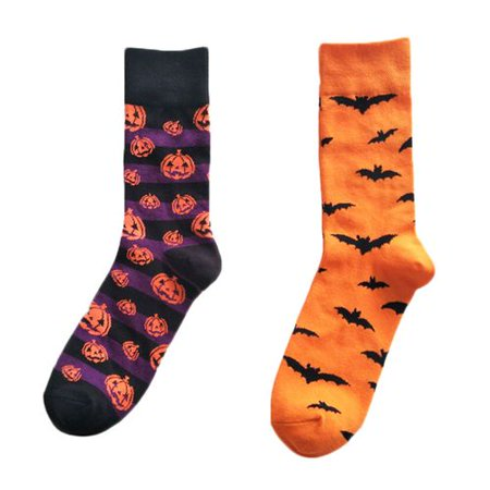 Fancyleo 2 Pairs 2019 New  Personality Men's Halloween Bat Pumpkin Cotton
