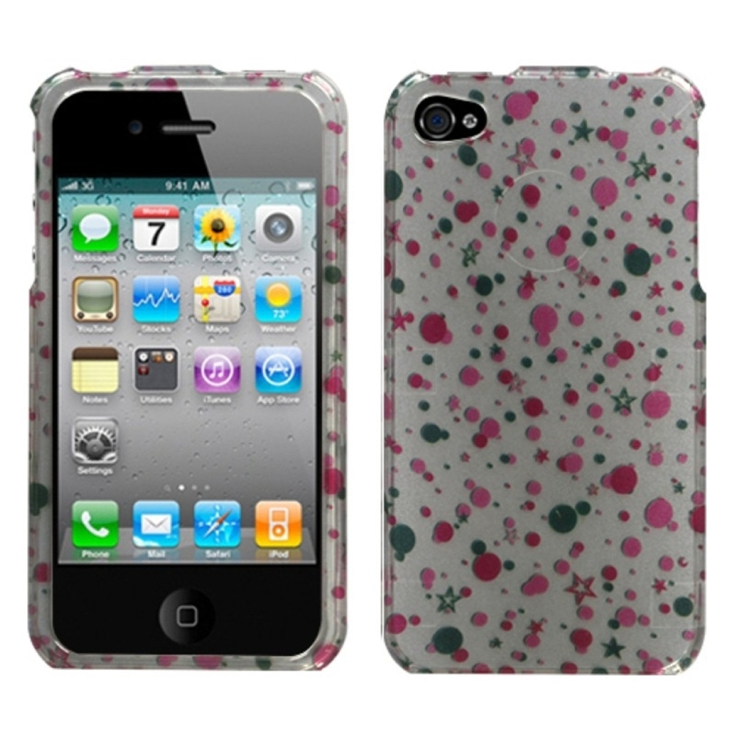 Insten Polka Stars (2D Silver) Case For iPhone 4 4S