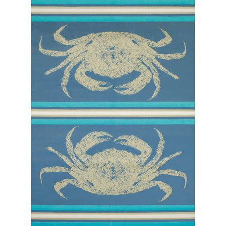 United Weavers Panama Jack Island Breeze Stone Crab Coastal Blue Woven Polypropylene Area
