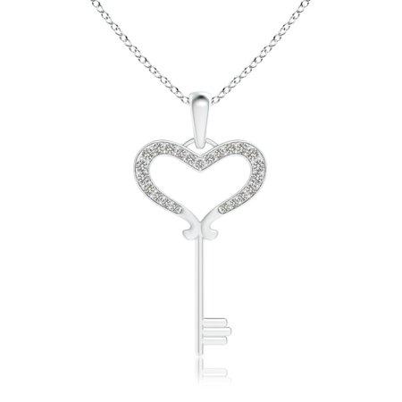 Valentine Jewelry gift - Pave-Set Diamond Heart Key Pendant in 14K White Gold (1.2mm Diamond) -