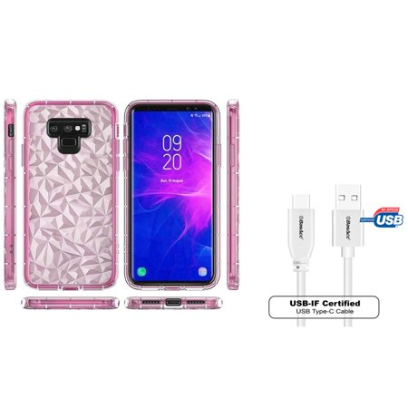 Insten Diamond Textured Design PC/TPU Rubber Transparent Case Cover For Samsung Galaxy Note 9 - Pink (Bundle with USB Type C