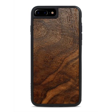Walnut Burl - iPhone 8 Plus - Black Traveler Protective Wood Case by Carved, Unique Real Wooden Phone Cover (Rubber Bumper, Fits Apple iPhone 8 Plus) (Walnut Burl Case)