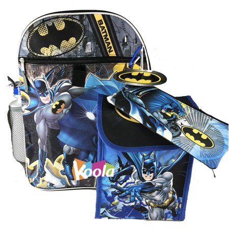 Batman Boys Backpack and Lunch Bag - 5pc School Essentials Set