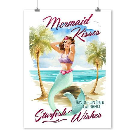 Huntington Beach, CA - Mermaid Kisses & Starfish Wishes - Watercolor - Lantern Press Artwork (9x12 Art Print, Wall Decor Travel Poster) ()