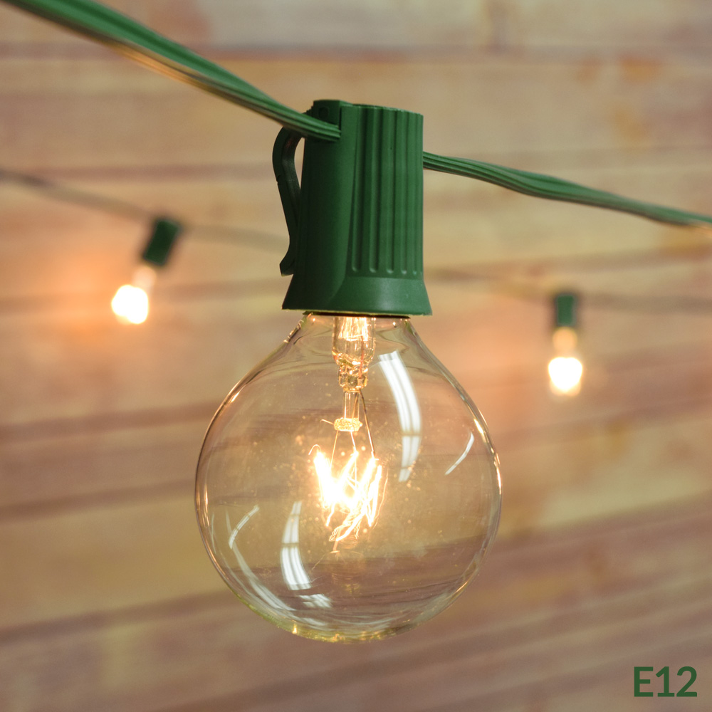 Fantado 25 Socket Outdoor Patio String Light Set, G40 Clear Globe Bulbs, 28 FT Green Cord w/ E12 C7 Base by PaperLanternStore