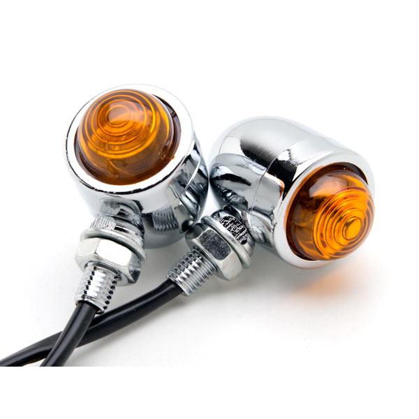 Motorcycle 2 pcs Chrome Amber Turn Signals Lights For Harley Davidson Dyna Glide Low Rider - image 1 de 6