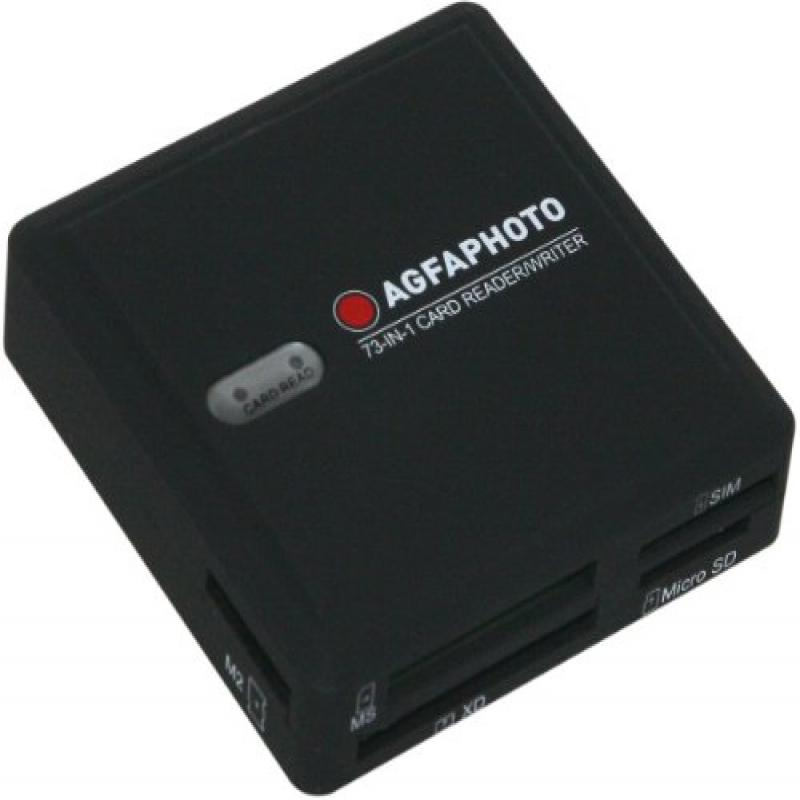 AGFA 73-in-1 Card Reader Writer Compatible with All Versions of SD HC, Micro SD, CF, XD, MS Pro Duo and SIM Cards by Agfa