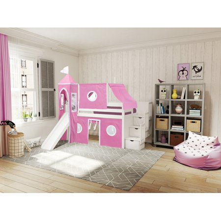 JACKPOT! Princess Low Loft Stairway Bed with Slide Pink & White Tent and Tower Loft Bed Twin White