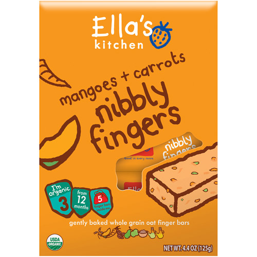 Ella's Kitchen Organic Mangoes & Carrots Nibbly Fingers, Stage 3 Baby Food
