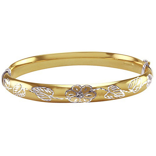 Diamond-Cut Flower and Leaves Design Bangle in Sterling Silver and 10kt Yellow Gold, 7.5""