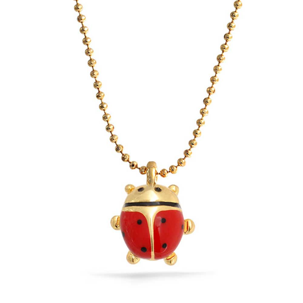 Childrens Red Enamel Ladybug Pendant Gold Plated Necklace 16 Inches