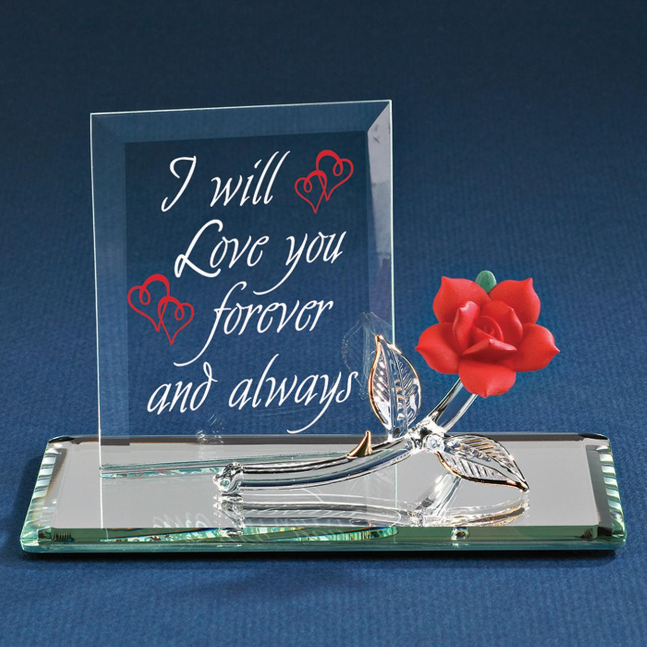 Forever Red Rose Glass Figurine Glas Baron Love Gifts For Women For Her