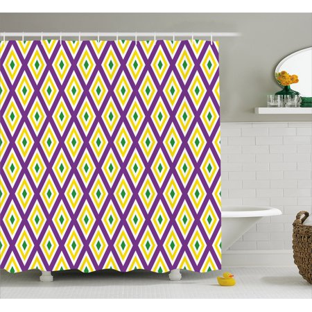 Mardi Gras Shower Curtain Classical Diamond Line Rhombus Pattern In Traditional Carnival Colors Fabric