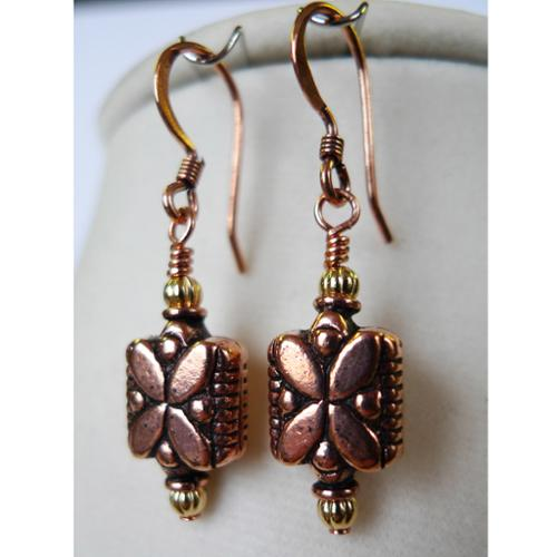 Palmtree Gems Daisy' Copper Earrings