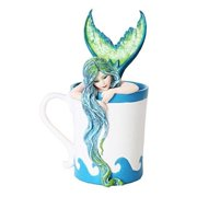 5.25 Inch Morning Bliss Mermaid In Coffee Cup Statue Figurine
