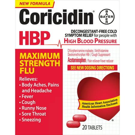 Coricidin HBP, Maximum Strength Flu Relief Tablets, 20 Count