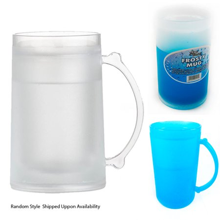 Set Of 3 Frosty Freezer Mug Drinks Cold Beer Water Freeze Gel 16Oz Travel Cup ()