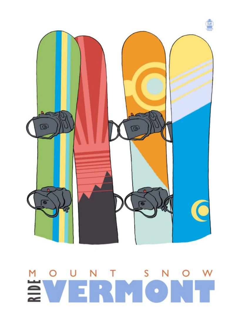Mount Snow, Vermont, Snowboards in the Snow By Lantern Press by Art.com