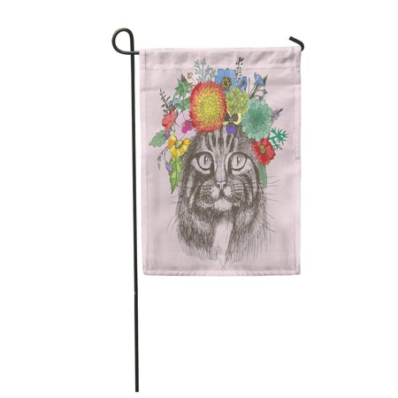 Design Hippie Cat (KDAGR Sketch Maine Coon Cat Portrait with Floral Wreath Separately from Your Design Hippie Garden Flag Decorative Flag House Banner 12x18 inch)