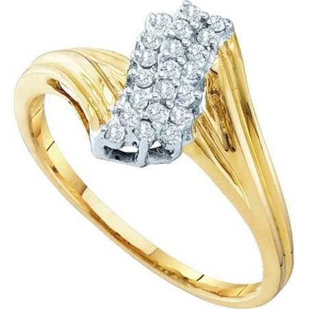10K Yellow Gold 0.15ctw Fancy Pave Diamond Ladies Cluster Row Fashion Ring