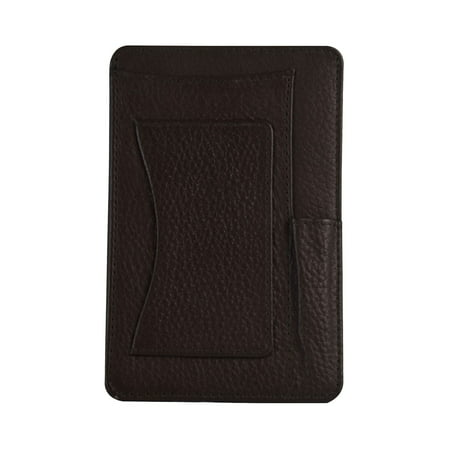 genuine leather 4 x 6 notepad holder with pen holder and card slot, brown Desktop Notepad Holder