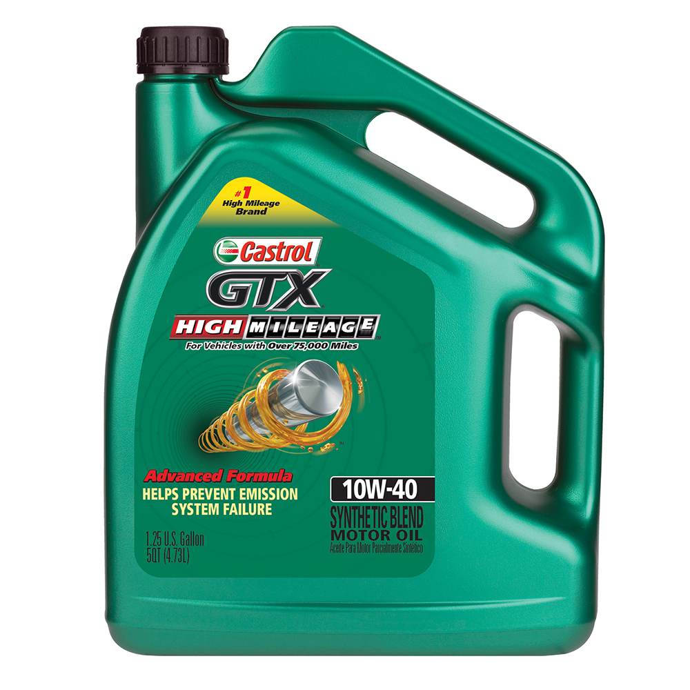 Castrol GTX High Mileage 10W-40  Synthetic Blend Motor Oil, 5 qt.