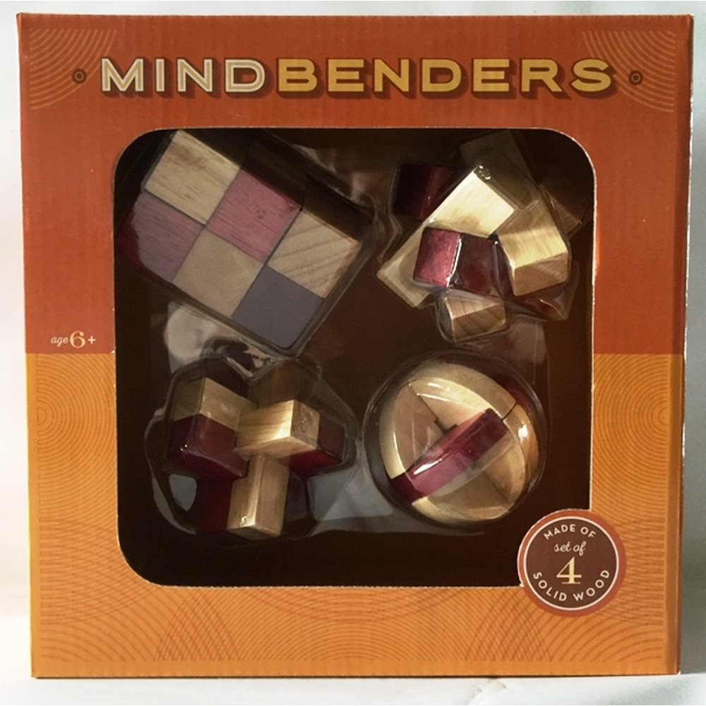 Mind Benders 4 Piece Wooden Puzzle Set, More Games by Go Games