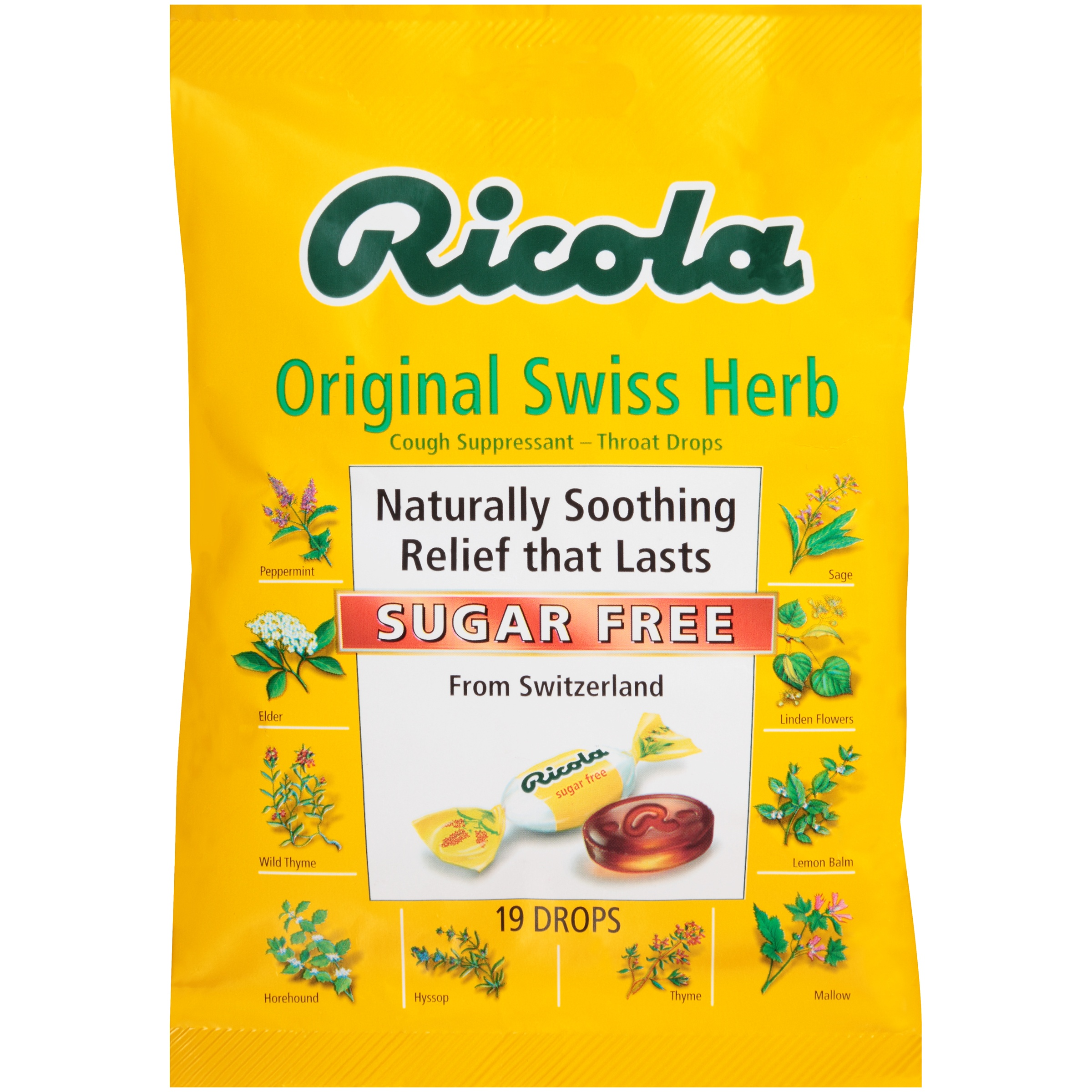 Ricola Sugar Free Original Swiss Herb Cough Suppressant Throat Drops 19 ct Bag
