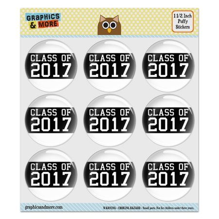 Class of 2017 Graduation Puffy Bubble Dome Scrapbooking Crafting Stickers - Set of 9 - 1.5
