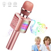 TECBOSS Toys for 6 Year Old Girls, Wireless Bluetooth Karaoke Microphone for Kids with Controllable LED Lights Home Party Speaker Music Recorder, Gift for 5-14 Year Old Girls Boys Teens