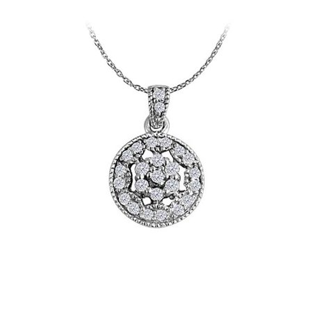 Fine Jewelry Vault UBNPD32199W14CZ Gorgeous Cubic Zirconia Circle Pendant in 14K White Gold with Free 16 in. Chain Best