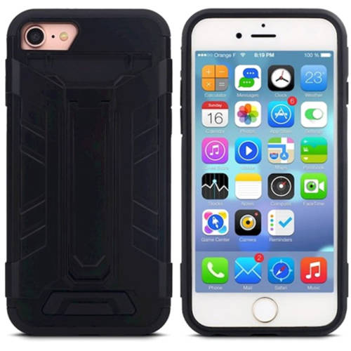 KIKO Wireless Card Slot Wallet Hybrid Case with Stand Rugged Rubberized TPU Thin Dual-Layer Cover Shock Absorption Abrasion-Resistant Hard Back Protection for Apple iPhone 7