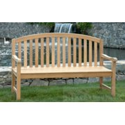 "72"" Natural Teak Outdoor Patio Aquinah Park Wooden Bench"