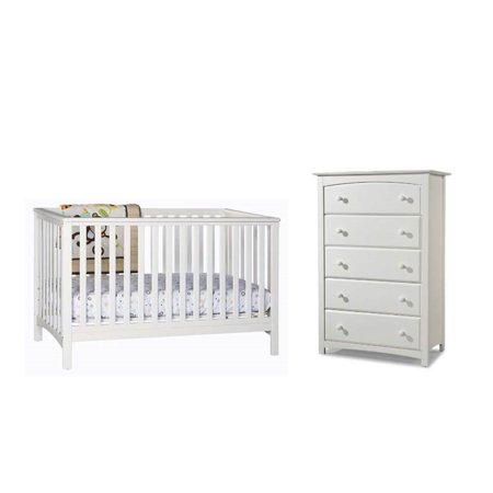 2 Piece Nursery Furniture Set With Crib And Dresser In White