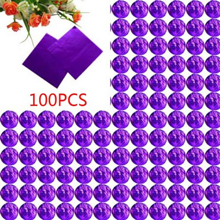 GeweYeeli 100pcs Square Aluminum Foil Wrappers Colorful Package for Sweets Candy Chocolate Lollipops Foil Chocolate Wrappers